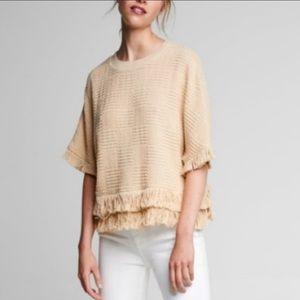 Zara Fringed Textured Knit Sweater Top Boho Medium